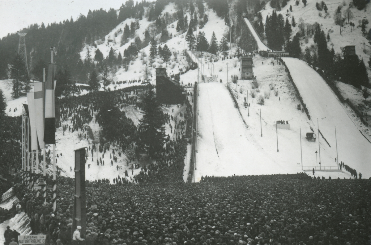 The two ski jumps during OG at Garmisch