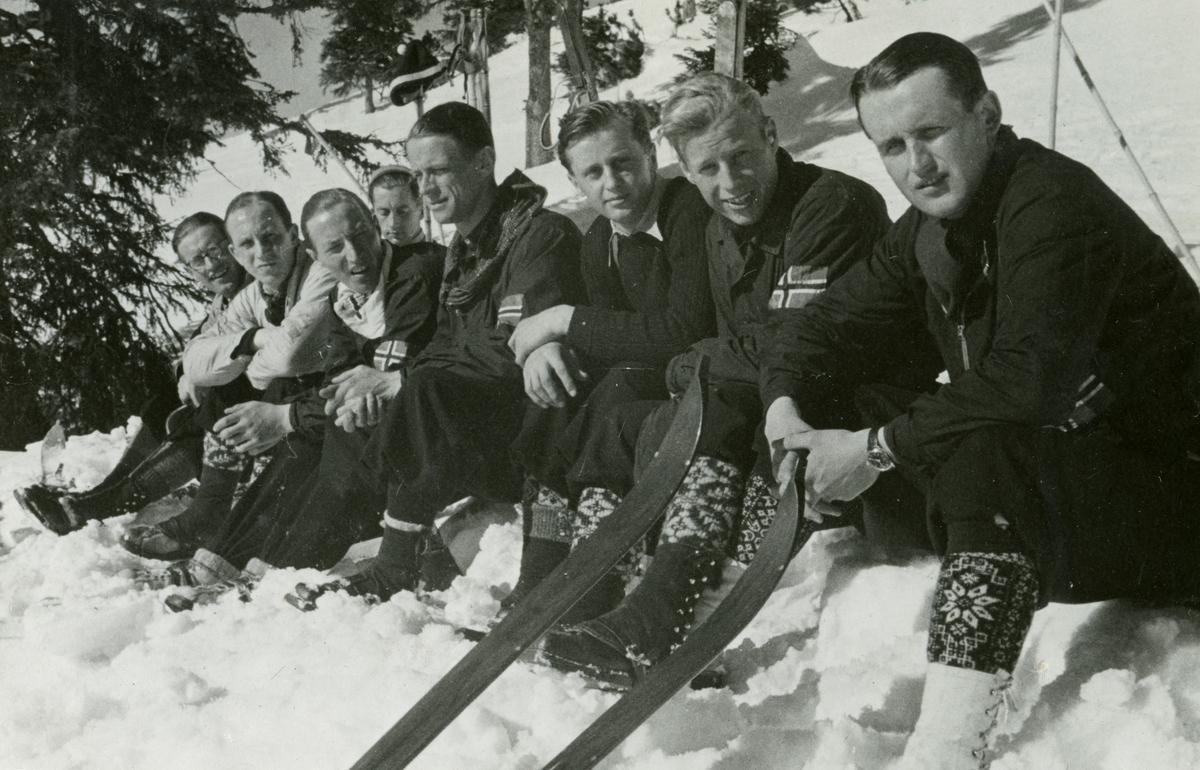 Norwegian skiers resting at Garmisch