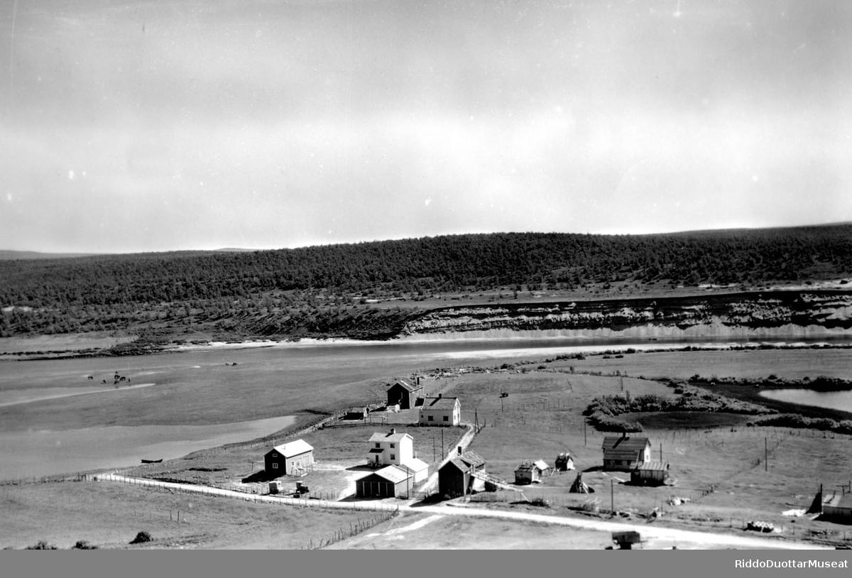 Øverli ja Ole Hætta dálut boaronjarggas 1960. Husene til Øverli og Ole Hætta i Boaronjarga 1960