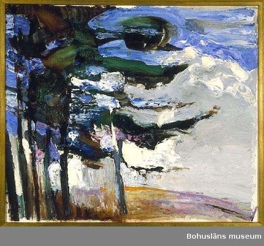 """Montering: Ram av förgylld trälist. Konstnären visade fyra målningar med titeln """"I skogsbrynet"""" på Bohussalongen 1970.  """"... tallar på fast mark med fri utsikt mellan grenverk och rötter. Bilderna har fasthet och tar vara på linjespelet horisont-stammar.""""  Enligt recension av Eric Jonsson i Bohusläningen den 10 september 1970."""