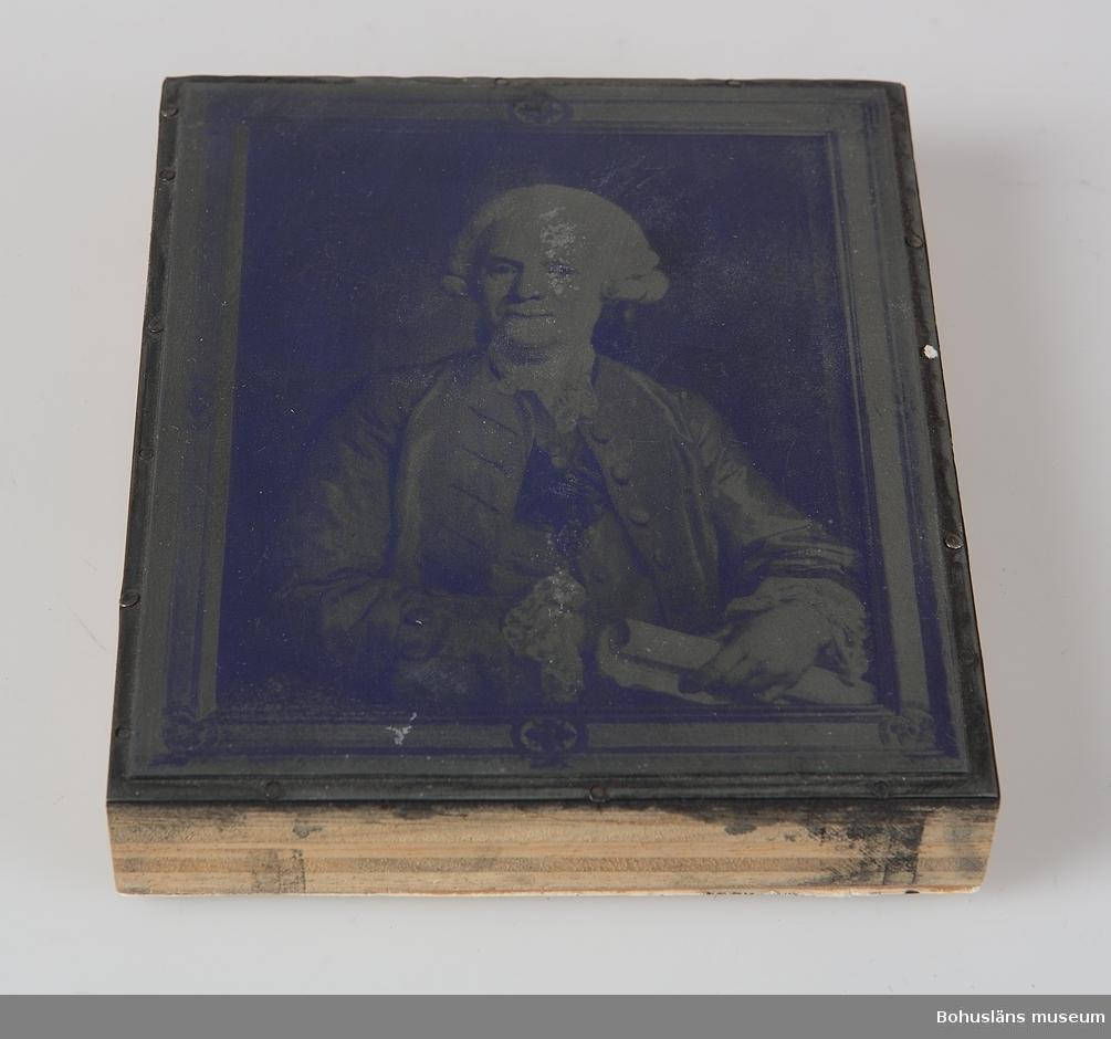 Kliché föreställande Mikael Koch (1715 - 1789), Uddevallas borgmästare. Målningen tillhör Svenska Porträttarkivet.