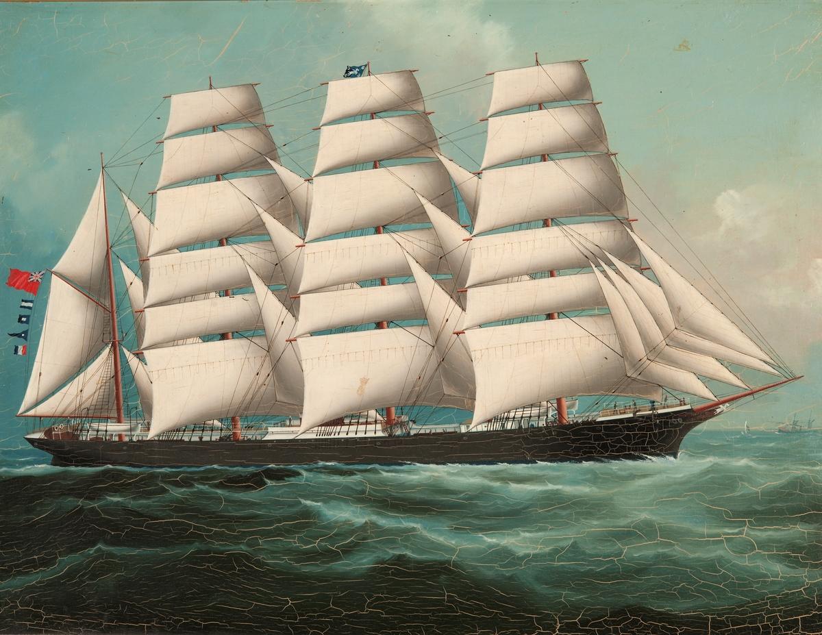 Oljemålning på pannå. Fartygsporträtt av fyrmastade barken PEGASUS. Osignerad.
