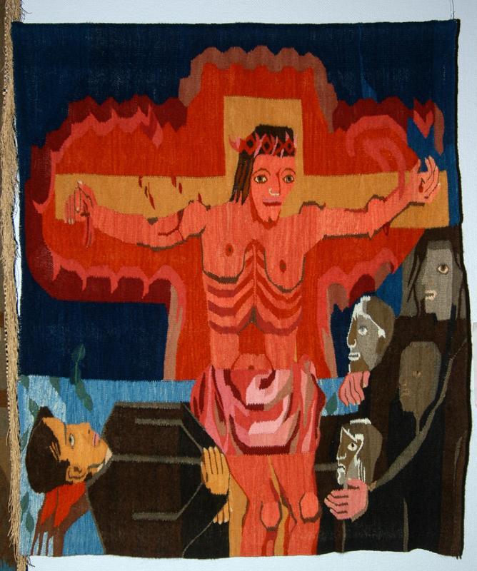 """Hannah Ryggen, """"Kaj Munks død"""" (1946). Foto: Nordenfjeldske Kunstindustrimuseum"""