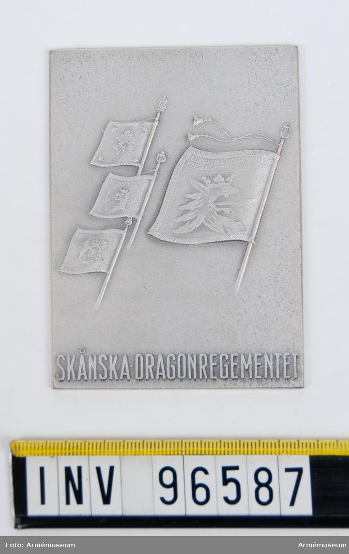 Plakett i silver för Skånska dragonregementet. Stans 44393.