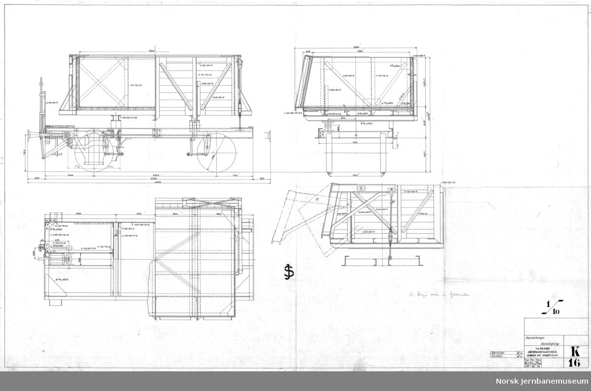 Råmalmvogn, 1067 mm, Sulitelma A/B gruber  K016 Hovedtegning K018 Kasse K019 Luke K020 Vareplater