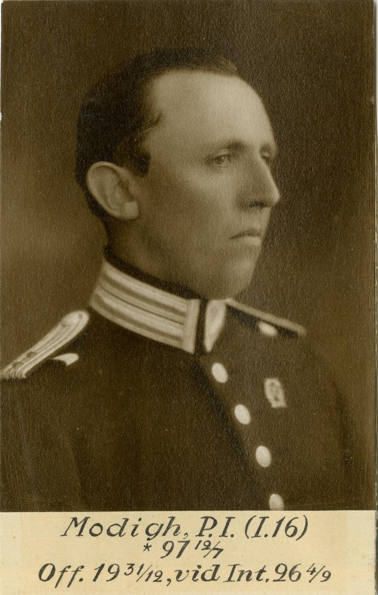 Porträtt av Per Ivan Modigh, officer vid Hallands regemente I 16 och Intendenturkåren.