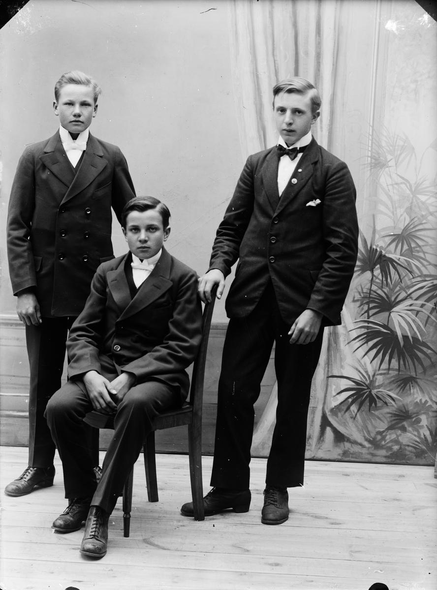 Ateljéporträtt - tre unga män, Alunda, Uppland