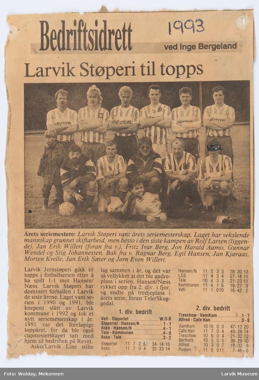 Larvik Støperis fotballag 1993