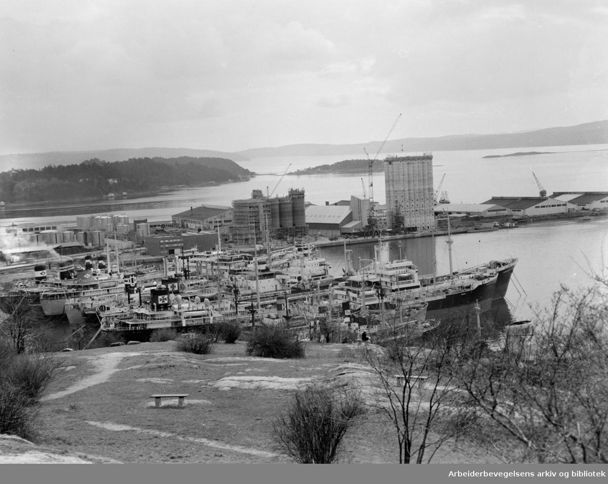 Utsikt fra Ekeberg over Oslo Havn..Grønlia med Sjursøya og båter i opplag.April 1959
