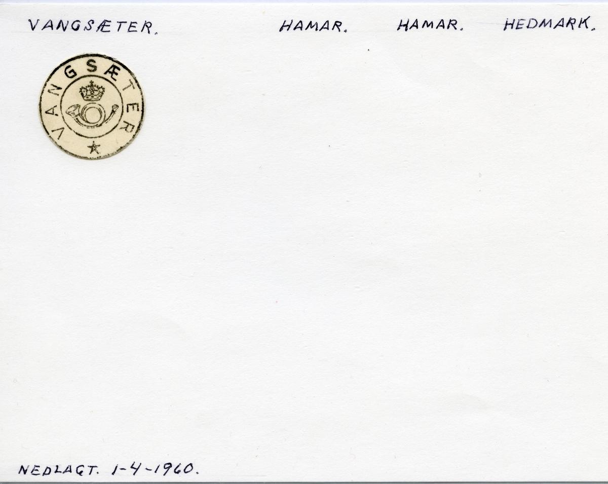 Stempelkatalog Vangsæter, Hamar, Hedmark