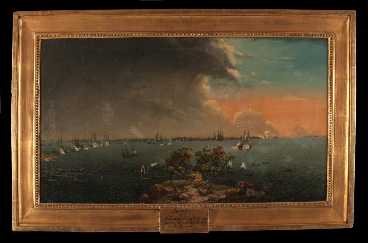 """""""Battaljen vid Svänsksund d. 8 julij 1790 Hvarvid 53 stycken Kejserliga Ryska Fartyg erofrades""""."""