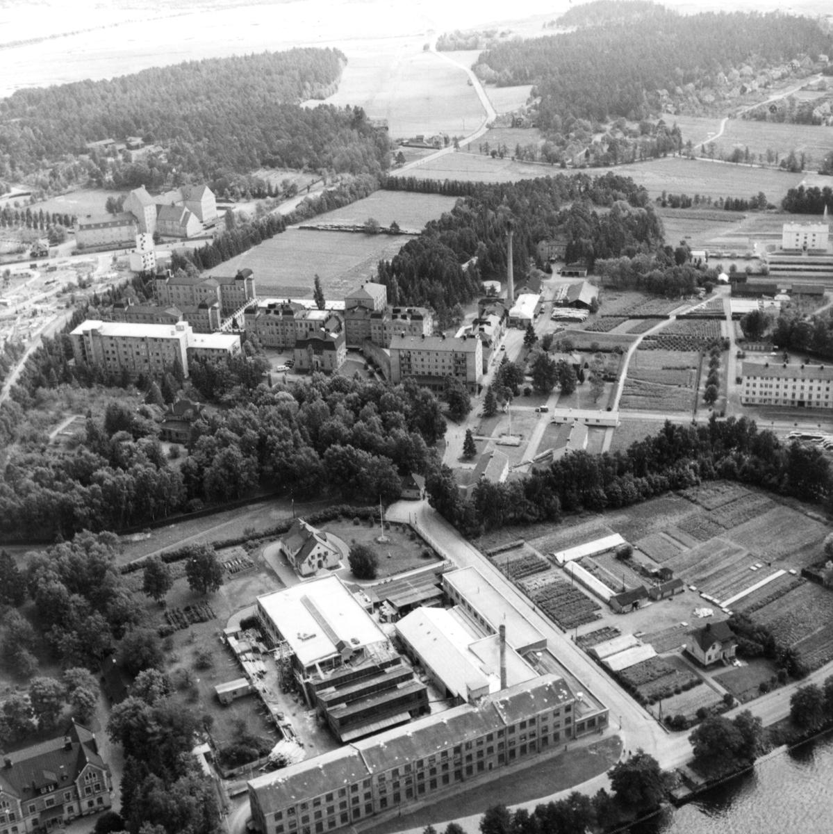 Flygbild över lasarettsområdet med omgivningar 1947.