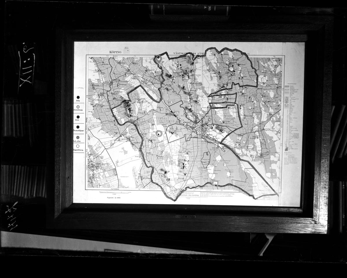 Fornminneskarta över Köping 1930.