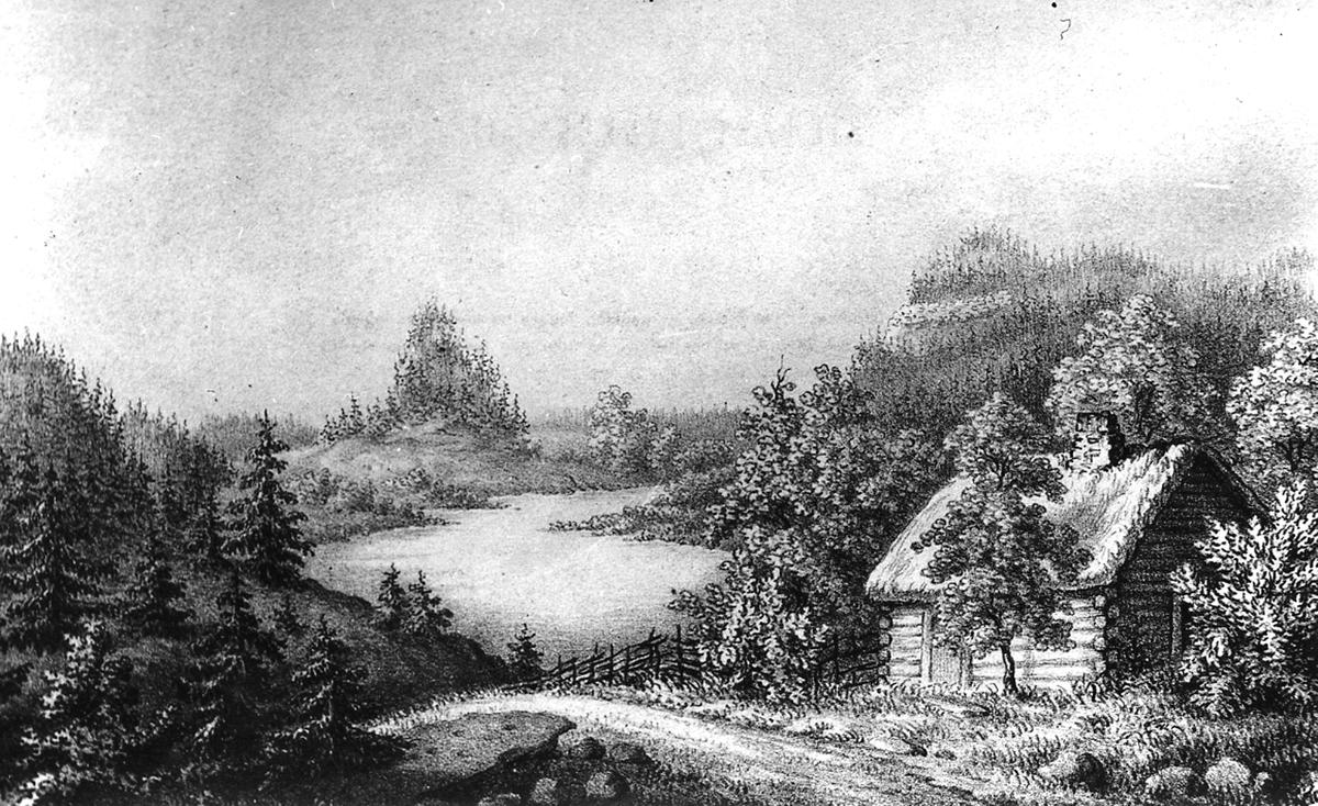 Teckning av Korslöt skans, av Rickard Dybeck.
