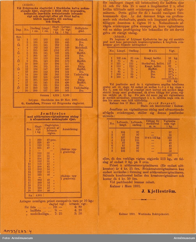 Grupp MV.  Kreaturs-vigtmätaren, utdrag ur januarihäftet af tidskrift för Åkerbruk och Husdjursskötsel, Kalmar 1891.