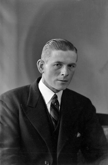 914558132fa6 Foto av en man i mörk kostym och randig slips med kråsnål. Midjebild,  halvprofil