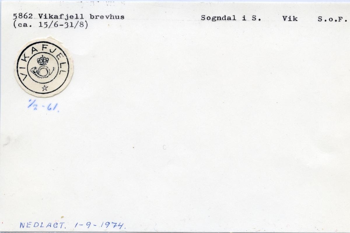 Stempelkatalog  5862 Vikafjell, Sogndal kommune, Sogn og Fjordane