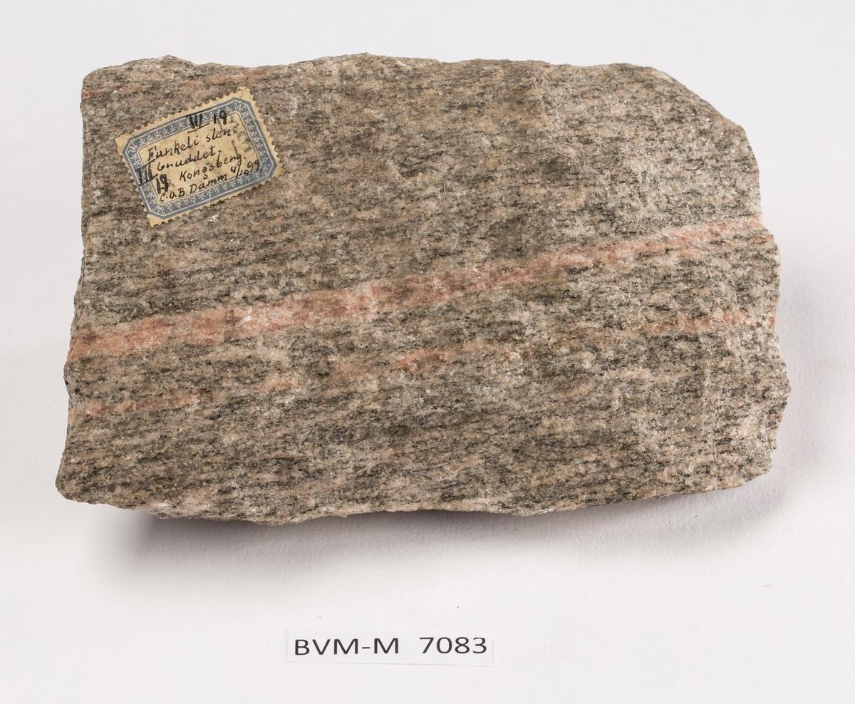 Etikett på prøve: III 19 Funkeli stenbruddet. Kongsberg. C.O.B. Damm 4/10 99.