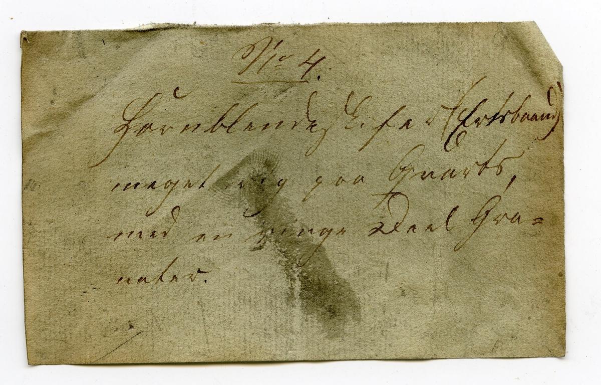 Etikett på prøve: 4.  Etikett i eske: No. 4. Hornblendeskifer (Ertsbaand) meget rig paa Qvartz, med en ringe Deel Gra- nater.