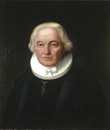 Portrett av Grøgaard (Grøgård). Prestekjole og -krave. Medalje i grønt bånd om halsen. (Foto/Photo)