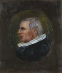 Portrett av eidsvollmann Jens Stub  Mann med grått hår og prestedrakt, profil  Innskrevet i oval, lysere enn resten av bakgrunnen.