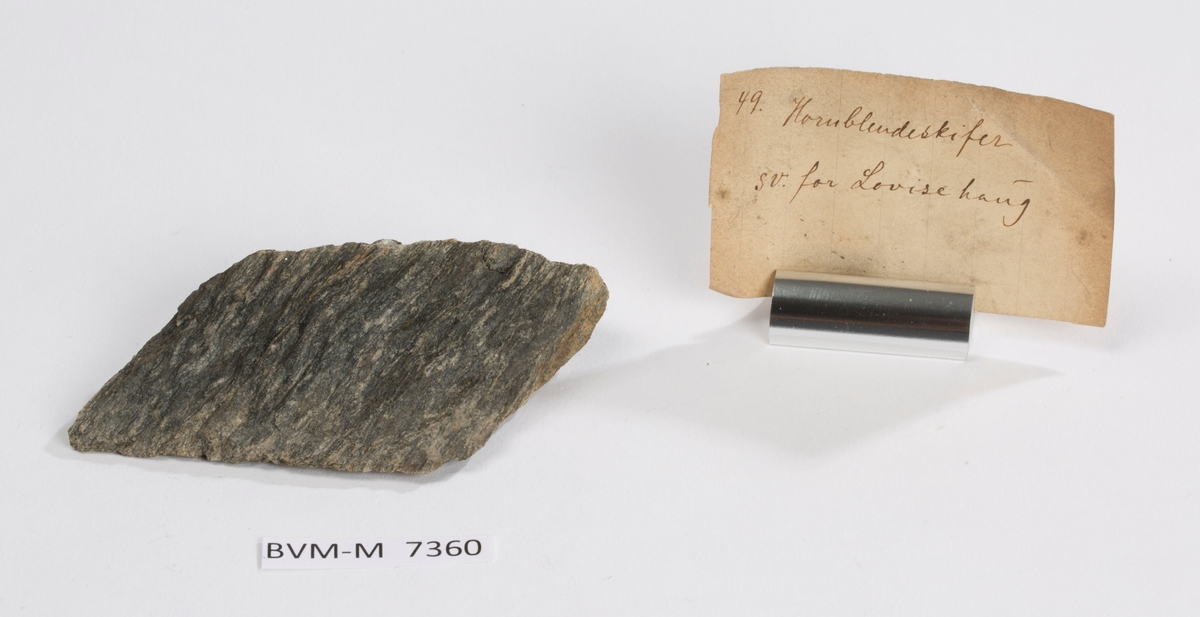 Etikett i eske: 49. Hornblendeskifer sv. for Lovisehaug