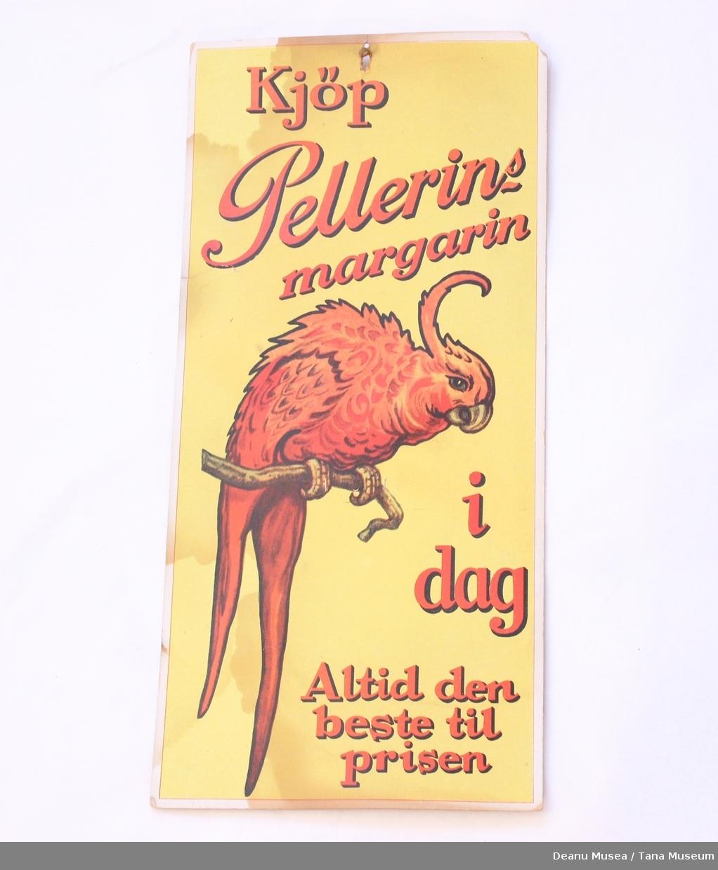Pellerin margarin salgsplakat, motiv av en papegøye.