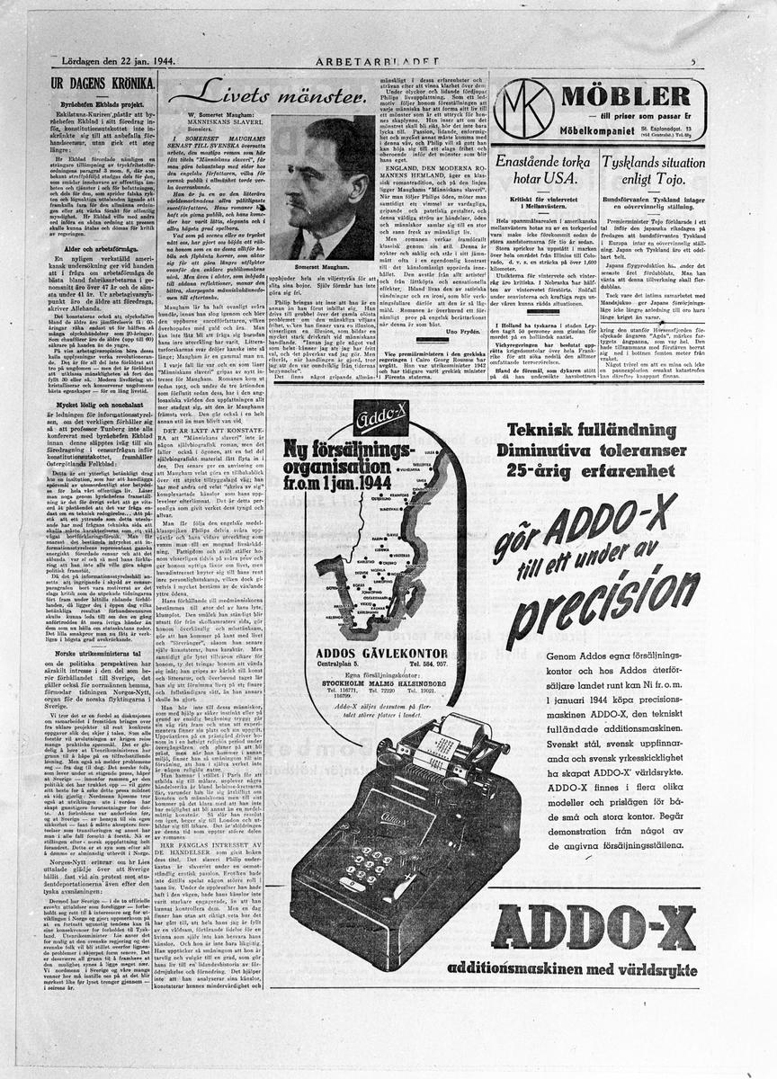 """En sida av Arbetarbladet Lördagen den 22 januari 1944. Bland annat """"Dagens Krönika"""""""