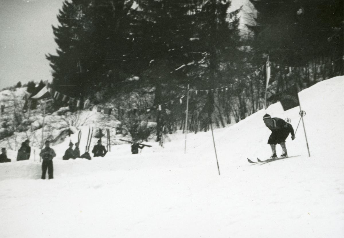Athlete Birger Ruud during down hill in Garmisch