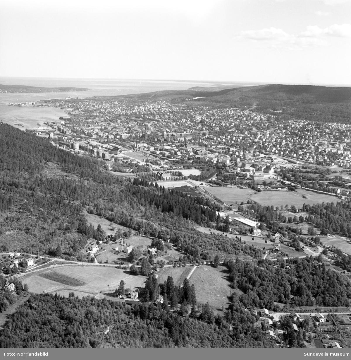 Flygfoto över Sundsvall taget från Granloholm. Närmast i bild Nejlikevägen och växthusen vid Klintens handelsträdgård.