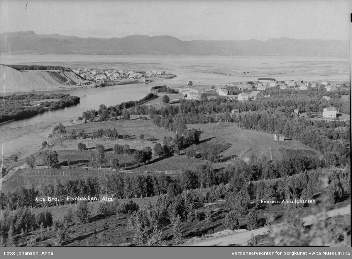 Utsikt over landskap med trær, elv og Alta bro.