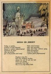 """Julekort. Ubrukt. Tekst av """"Deilig er jorden"""".  Vintermotiv."""