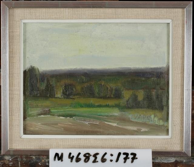 Oljemålning på masonitpannå. Landskapsmotiv. I förgrunden en åker, träd, enbuskar,  i bakgrunden hav eller fjäll i blåviolett ton.