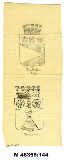 Blyerts-/tuschteckning på kalkerpapper. Djursholms och Tidaholms stadsvapen. Ej signerad.   Inskrivet i huvudbok 1983. Montering/Ram: Ej ramad