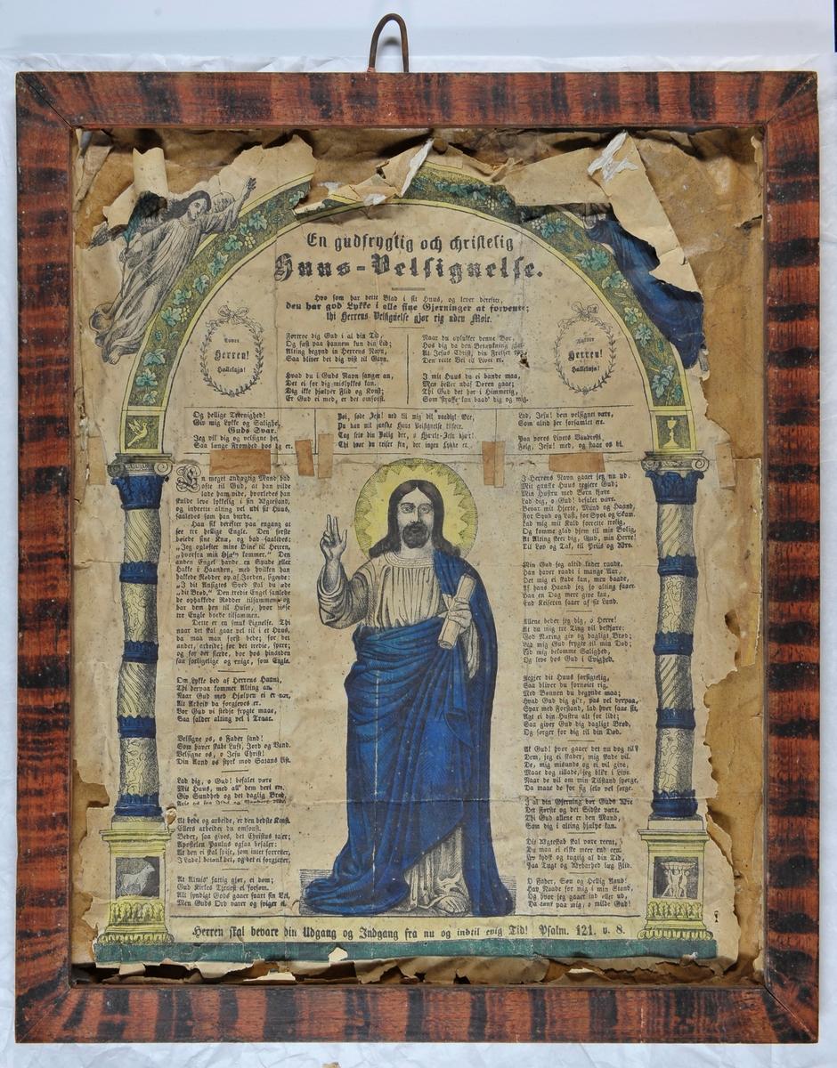 62d9bf99 En husandaktstavle med en Kristusskikkelse sentralt i bildet. Rundt ham er  det skrevet et dikt