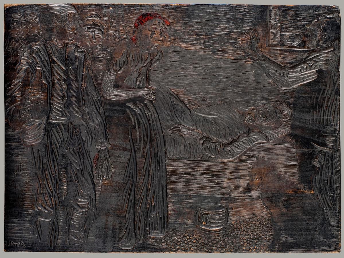 """Tosidig trykkplate med to ulike motiv. Illustrasjon til Hans E. Kinck si novelle """"Herborgs-Peren"""" (1913), publisert i heftet Jul i Norge 1915."""
