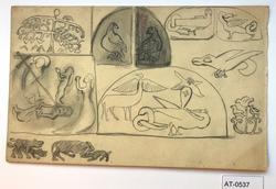 Åtte stiliserte skisser av dyr og planter og ei religiøs sce