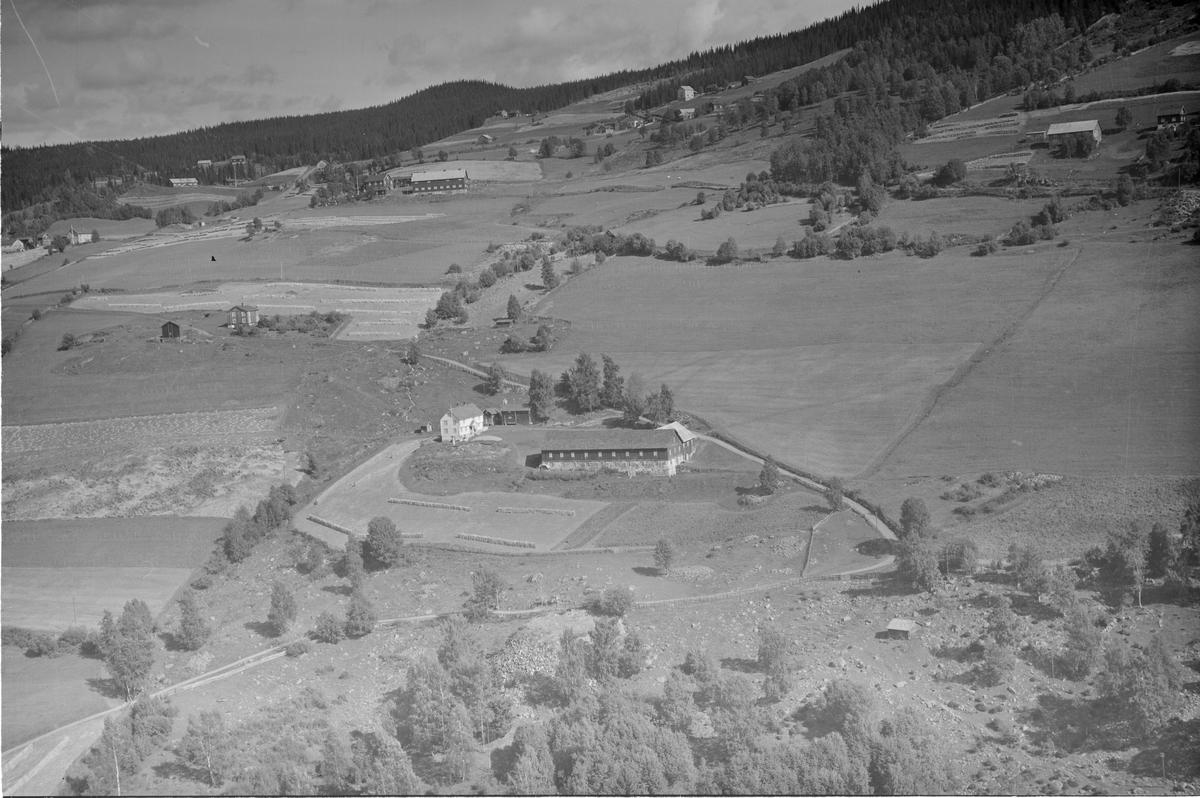 Landgård, Tretten, Øyer, 28.08.1953, oversiktsbilde, li, gårdsbruk, kulturlandskap, blandingsskog, slåttonn, hesjer