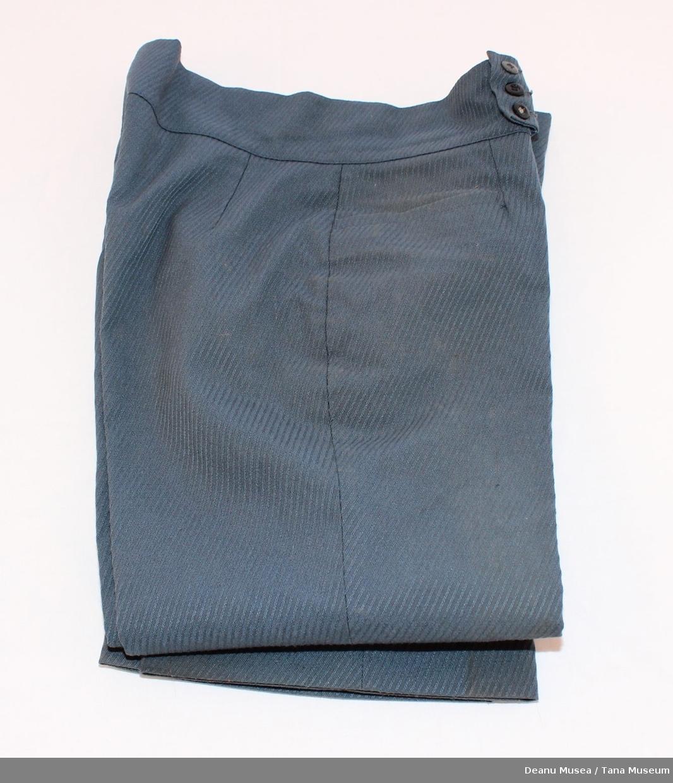 blå langbukse str. 22, skråstripet veving. 45% new wool.