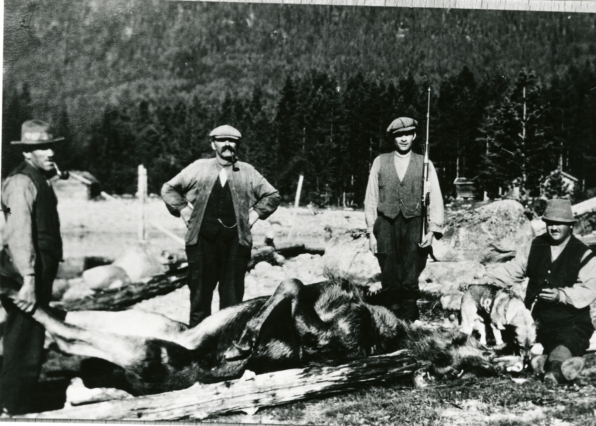 Tidemann Aspholt, Paul Bagge, Hans Bragerhaug og Elling Elsrud på elgjakt.