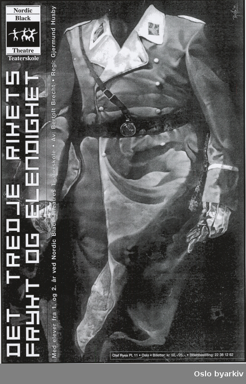 Plakat for forestillingen Det tredje rikets frykt og elendighet...Oslo byarkiv har ikke rettigheter til denne plakaten. Ved bruk/bestilling ta kontakt med Nordic Black Theatre (post@nordicblacktheatre.no)