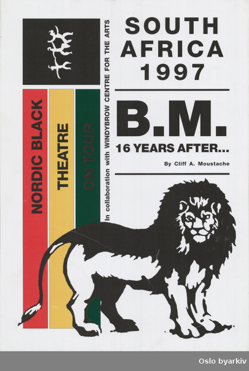 Plakat for forestillingen Bob Marley - 16 years after...Oslo byarkiv har ikke rettigheter til denne plakaten. Ved bruk/bestilling ta kontakt med Nordic Black Theatre (post@nordicblacktheatre.no)
