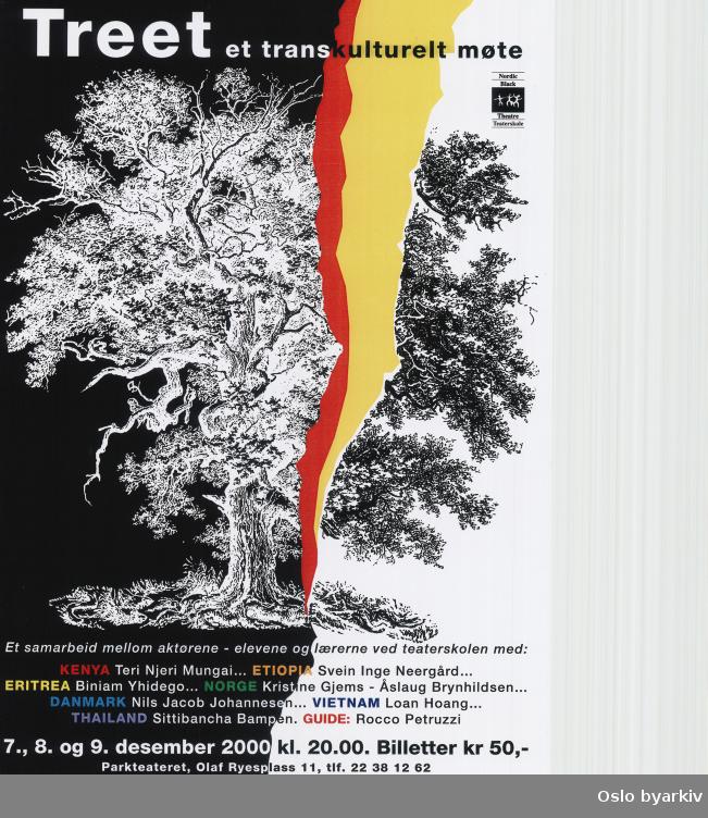 Plakat for forestillingen Treet...Oslo byarkiv har ikke rettigheter til denne plakaten. Ved bruk/bestilling ta kontakt med Nordic Black Theatre (post@nordicblacktheatre.no)