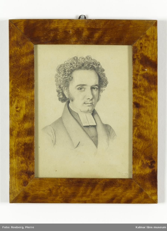 Blyertsteckning porträtt som föreställer lektor Lars Gustaf Wimmerstedt.