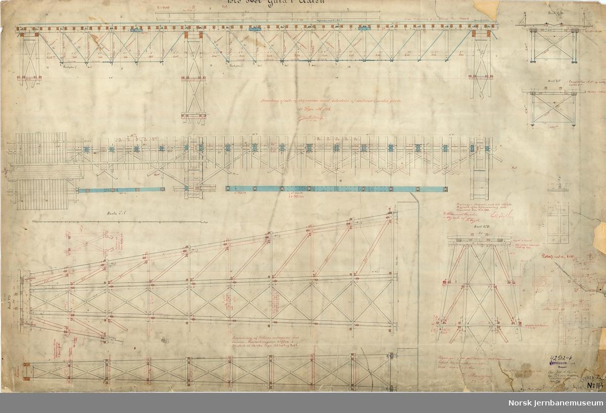 Bro over Gula i Ålen Tegningen ajourført senest 23. juli 1892  Støren-Aamotbanens tegning 114