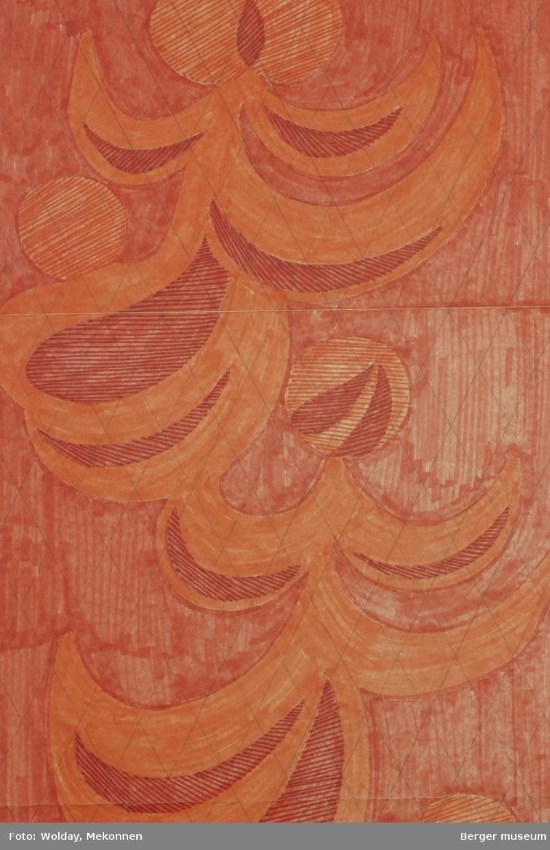 Bølgemønstret, der bølgene danner en slags ranke nedover høydeformatet. Toppen av bølgene avsluttes av en sirkel- eller trekløverform. Mønsteret er strukturert av et diagonalt rutenett.