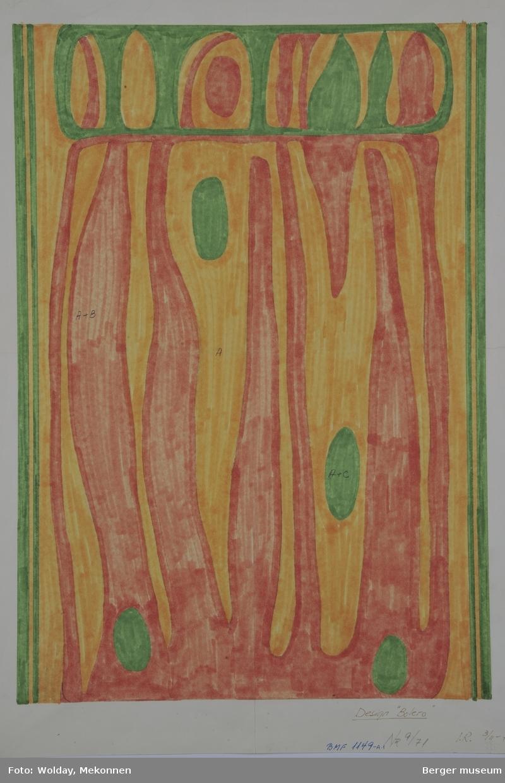Sykadelisk organisk mønster. Tegningen er festet til et stivt papir til bruk i utstilling.