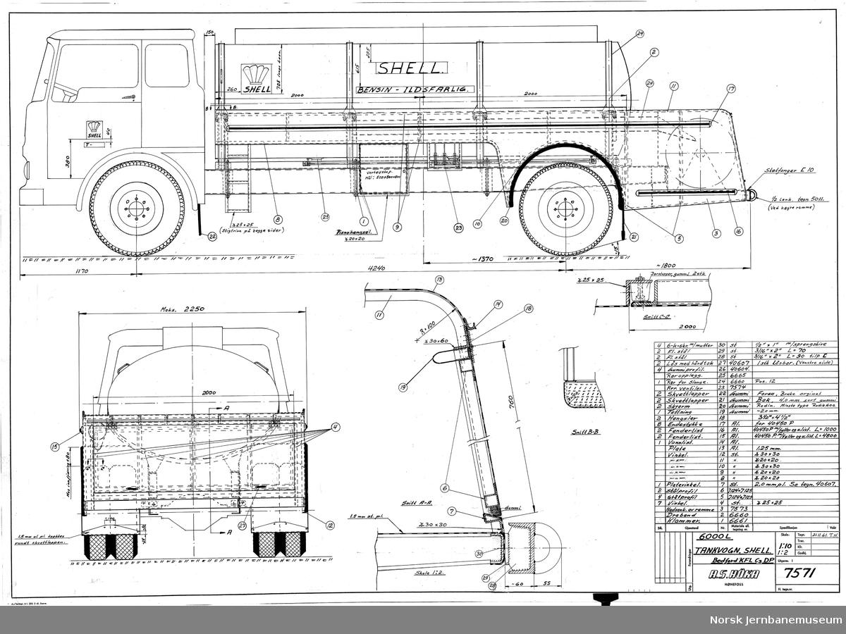 HØKA Tankvogn 6000 liter, Shell, Bedford KFL C3 DP