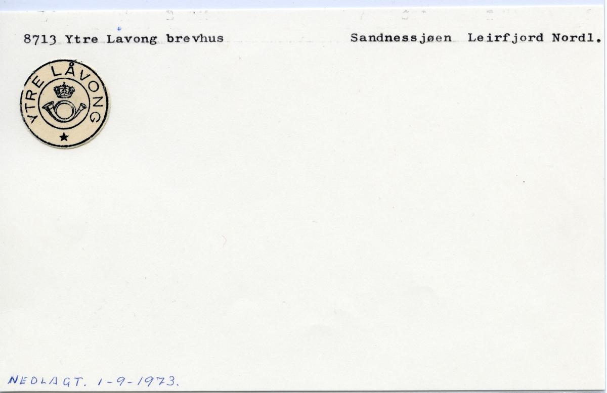Stempelkatalog  8713 Ytre Lavong, Leirfjord kommune, Nordland
