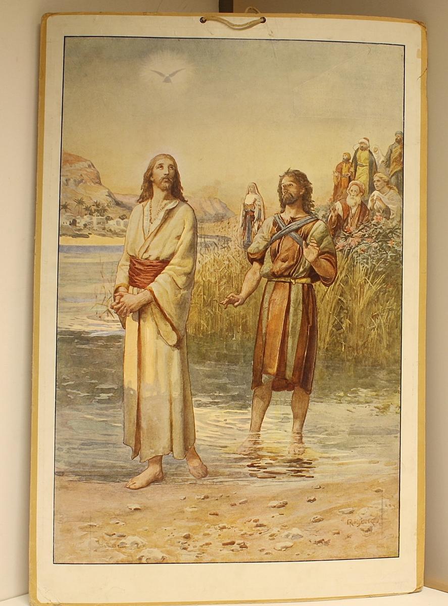 Rektangulær plakat. To personer i forgrunnen, Jesus og en disippel (?). Syv personer i bakgrunnen. Personene står på en elvebredde, by og fjell i bakgrunnen. En due flyr over.